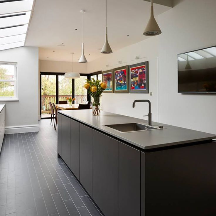 This Zen #kitchen By Alno Features Dekton Korus Countertops That Reflect  The Beautiful Sky Light