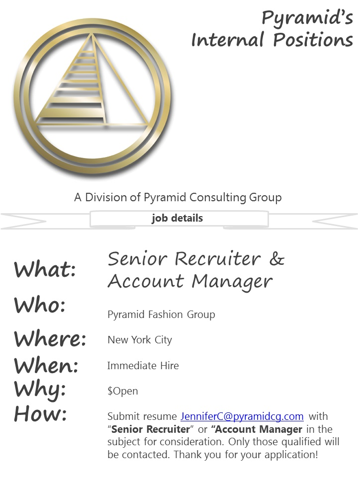 We Are Hiring Internally Senior Recruiter And Account Manager