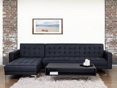 Sofa Bed - Corner Sofa - Upholstered - Anthracite - ABERDEEN. Follow Beliani UK for more design inspirations! #sofabed #convertible