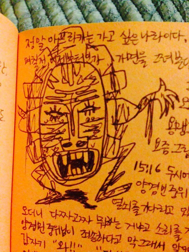 african mask (ball-pen, 2008)