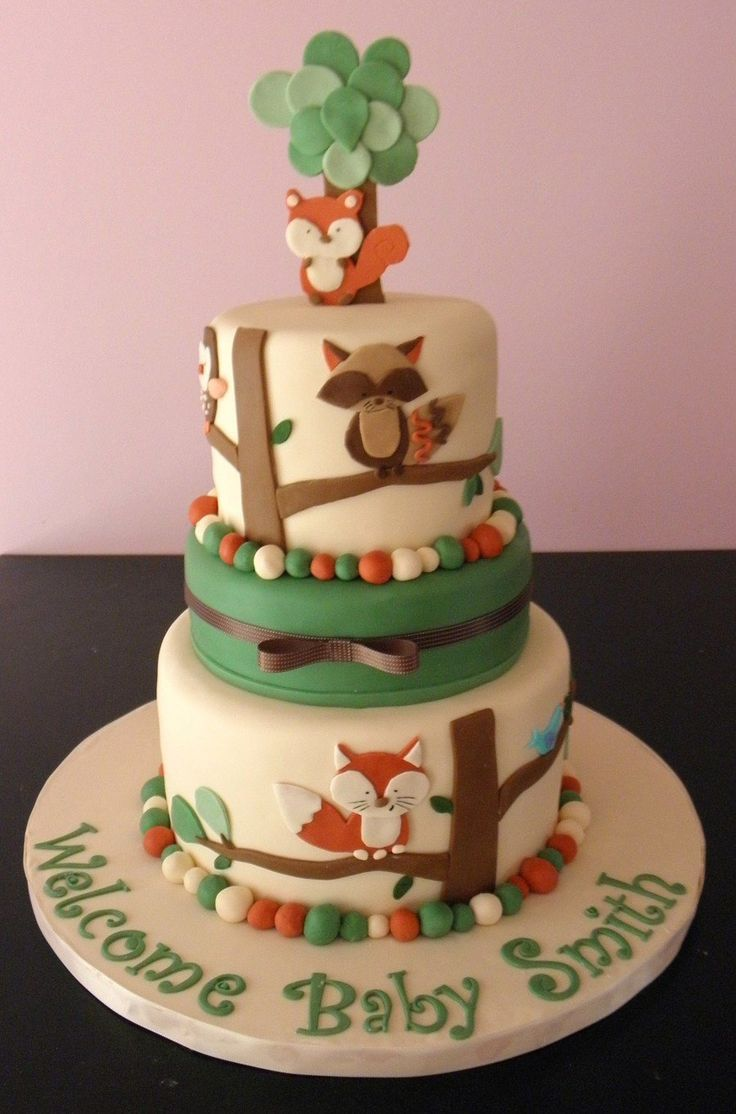 Tree Tops Nursery Bedding Shower  on Cake Central