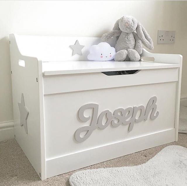 A stunning personalised white toy box. Personalise with different names & a choice of colours. An ideal addition to a child's bedroom or nursery.