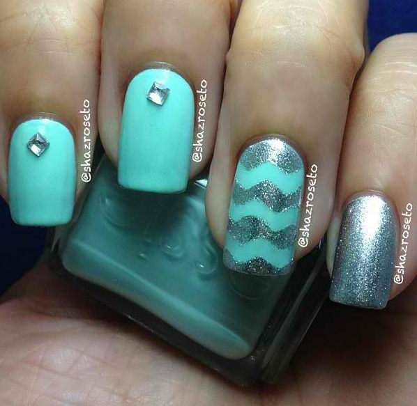 The 25 best chevron nail designs ideas on pinterest pretty nail teal silver chevron nail design prinsesfo Gallery