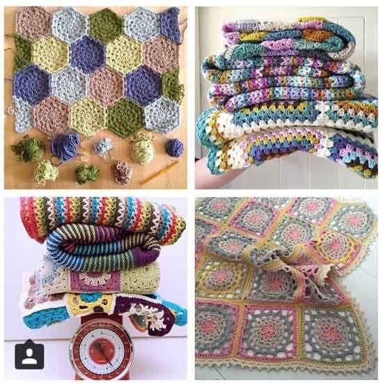 {Top Left} @bymamidk {Top Right} @yarnandwhatnot {Bottom Left} @madewithloops {Bottom Right} @maritparit - crochet blankets