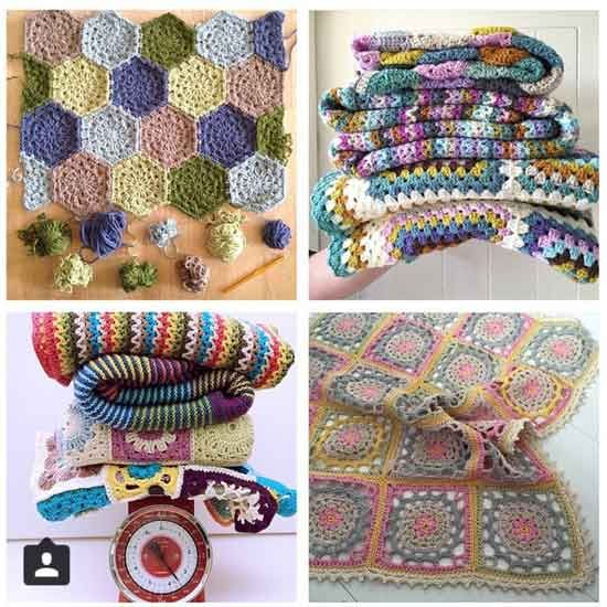 {Top Left} @bymamidk {Top Right} @yarnandwhatnot {Bottom Left} @madewithloops {Bottom Right} @maritparit - crochet blankets