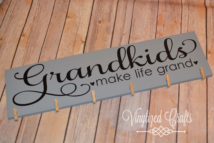 """NEW! Grandkids-make life grand. Picture holder wooden plaque 6""""x18"""",  w/clothes pins. For Grandparents or Great Grandparents by VinylizedCrafts on Etsy"""