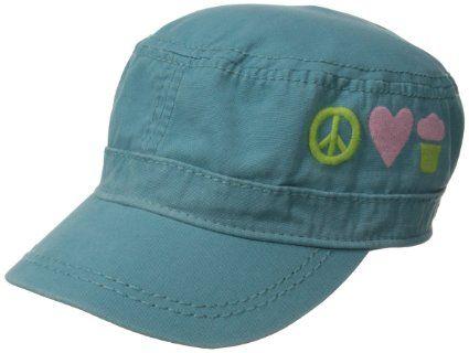 Life is good Girl's Cutie Cadet Peace Love Cupcakes Cap, Dusty Blue, Medium/Large