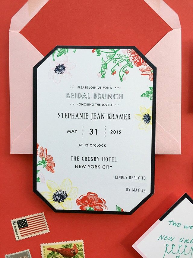 Pink and Poppy Brunch Bridal Shower Invitations by Fig and Charm / Oh So Beautiful Paper
