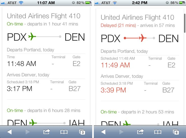 Google Flight Search Results- On mobile, Google flight status results include an airplane placed on a line at a point relative to its flight progress. Color communicates whether the flight is on time or not.  /via Erin Olmon