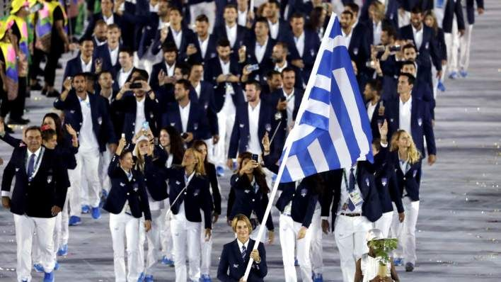 The Greek Olympics Team opened the Parade of Nations . For the first time in the Greek Olympics history, a female athlete was holding the flag: Sofia Bekatorou, a sailing champion.