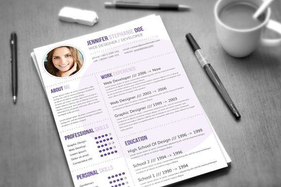 CV Template / 3 Colors by Visual Impact on @creativemarket