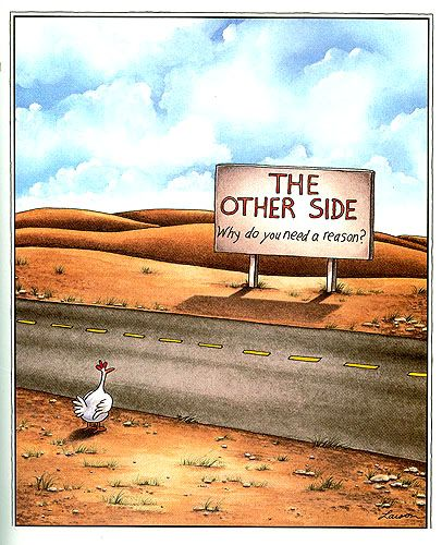 Chicken humor: From the Far Side -- by Gary Larson