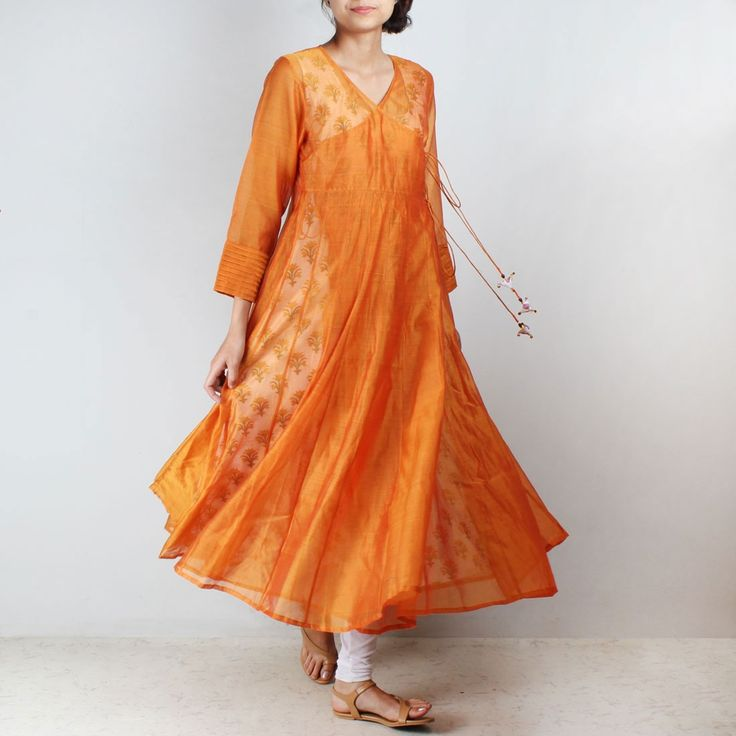 Orange Silk Angarkha with floral motif Inner