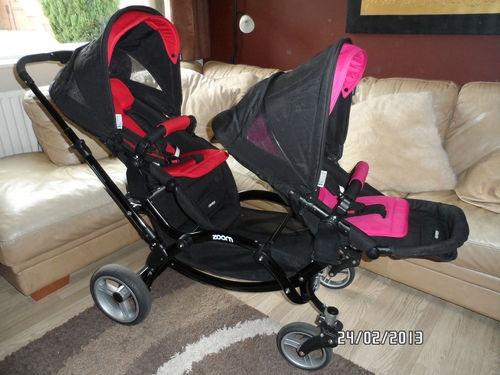Obaby Zynergi Zoom Double Tandem Pushchair Pram Buggy with Carrycot Twins (GREY)   eBay