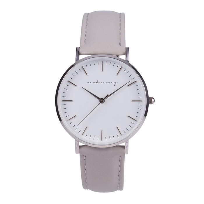 Reuben Ray Classic Silver Watch with Grey Stitched Leather Band