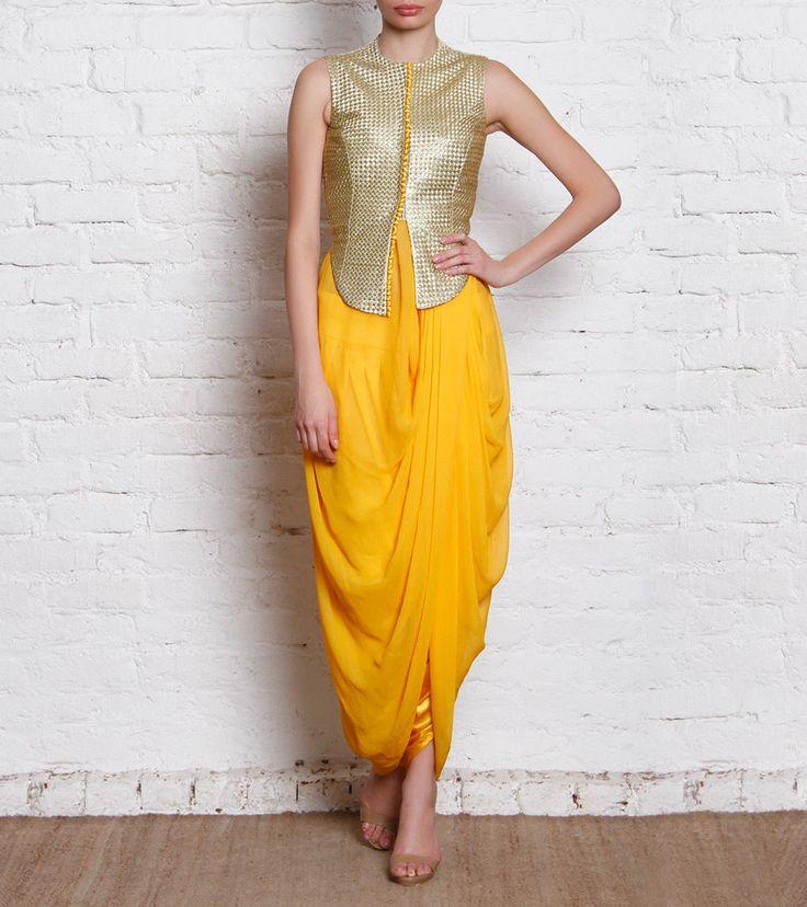 Golden & Yellow Dhoti Set