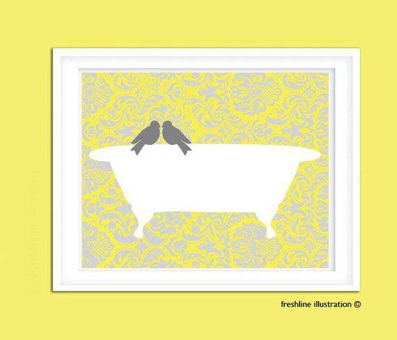 Bathroom Poster. Bird. Bathtub. Custom Bathroom Art. by Freshline, $12.00