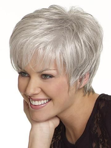 Beautiful Short Straight Grey. This is an adorable  cap of silver.   Wish my hair would look like this but is a bit too curly and a bit to grey.  I noticed also that her hair is quite shiny which adds to the over all attraction.