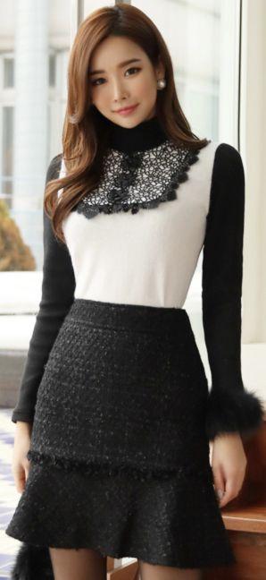 StyleOnme_Flounced Wool Blend Tweed Skirt #feminine #tweed #skirt #koreanfashion #kstyle #kfashion #warm #wintertrend
