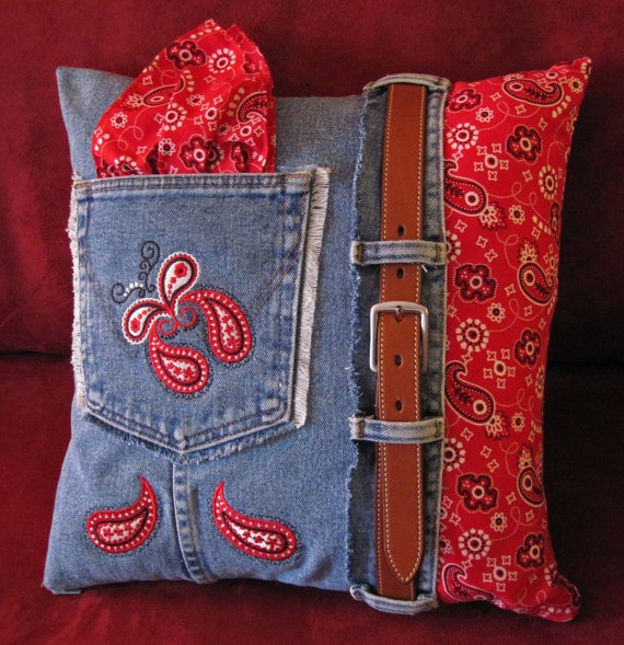 Denim & Bandana Paisley Leather Belted Pillow by VirtualStitches, $40.00