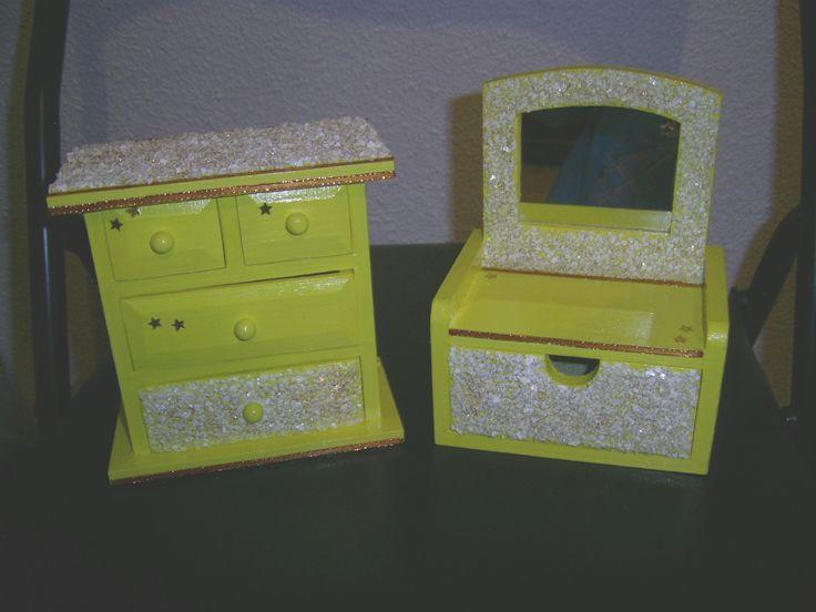 Cajas joyeros de madera decoradas en amarillo con detalles - Cajas de madera decoradas ...