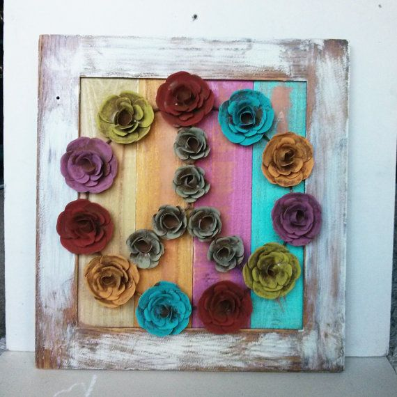 Flower Peace sign framed pallet art hippie boho decor on Etsy, $60.00