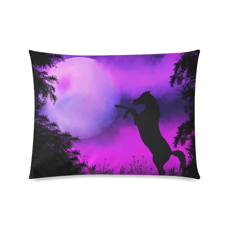 Horse with purple sky Custom Picture Pillow Cases  by Tracey Lee Art Designs