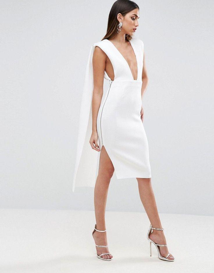 ASOS RED CARPET Scuba Sash Back Midi Dress - White