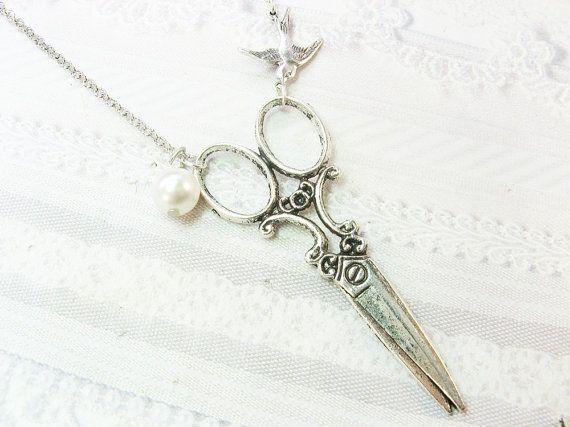 SILVER SCISSORS Necklace - Silver Pearl Scissors - Jewelry by BirdzNbeez - Wedding Birthday Hair Stylist Seamstress Gift