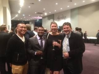 Mussel Bar Restaurant was again a finalist for Best Seafood Restaurant at the 2014 Australia Restaurant & Catering Awards for Excellence - Western Australia. In the photo are some of the members of The Mussel Bar Team celebrating with supplier Mark at the event.
