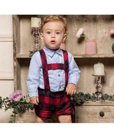657d9faf9 Conjunto para bebé niño compuesto por camisa y pantalón corto con tirantes.  Camisa en color