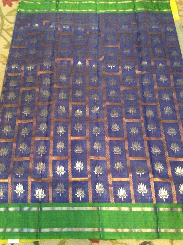 Blue pure zari kota with green pattu border
