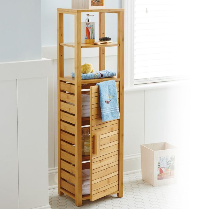 Bamboo Tall Floor Cabinet Bed Bath Beyond Shelves Cabinet Bed Wooden Bathroom Accessories