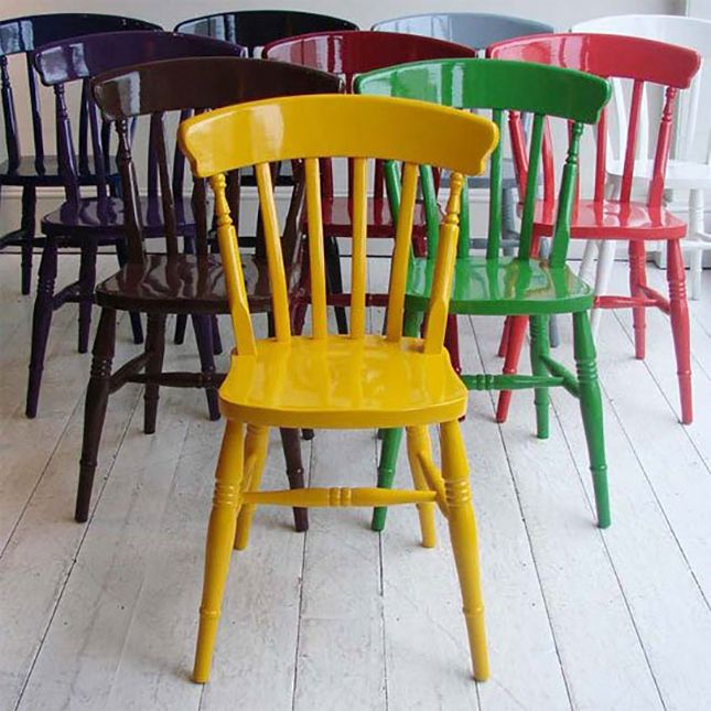Painted Chairs: Create a rainbow in your dining room by simply painting your existing chairs in a wide variety of colors. (via Apartment Therapy)