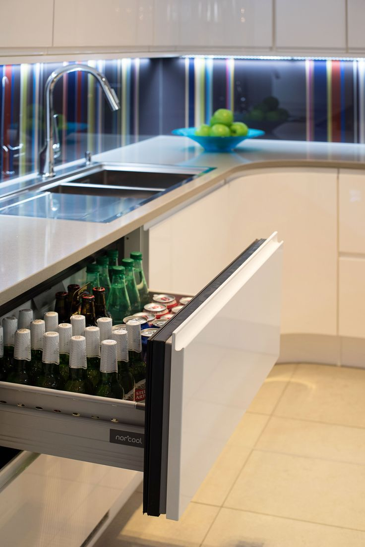 Drawer fridge - nice but would need to think about how wine/champagne would be placed in here, not tall enough to stand them up (which could be fine)