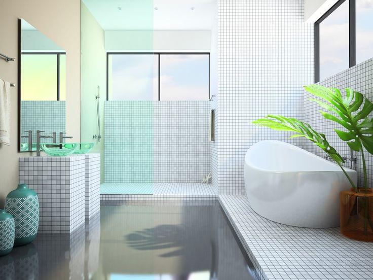 Weißes badezimmer mit großen fenstern und pflanzen bild