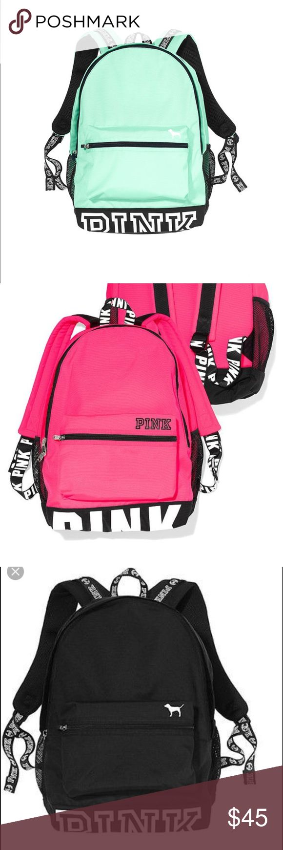 ISO vs PINK campus backpack Also looking for the ID holder, pencil case, and lunch box in matching colors PINK Victoria's Secret Bags Backpacks