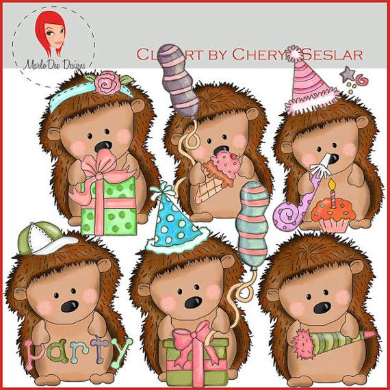 NEW Pepper the Hedgehog Birthday Wishes Clipart by by marlodeedesigns, $1.25