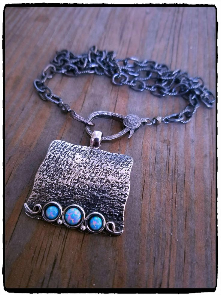 Sterling Silver Ethiopian Opal &  Diamond Clasp Oxidized Sterling Chain Layering Necklace, Boho Luxe, Simple Statement Piece, October Gift by ShortDogJewelry on Etsy https://www.etsy.com/listing/480121027/sterling-silver-ethiopian-opal-diamond