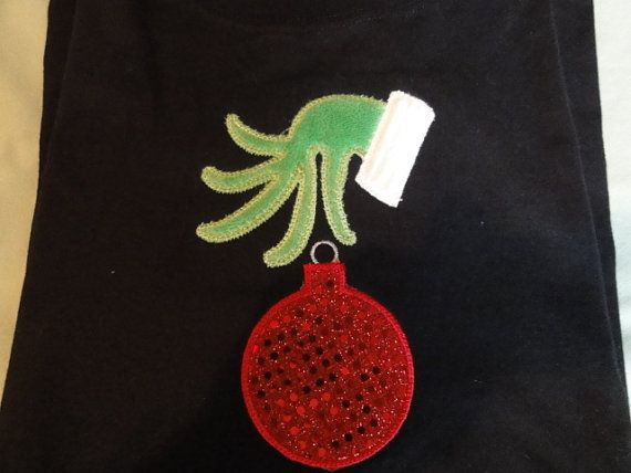 Personalized Embroidered Christmas The Grinch Hand  by captonrob, $23.99