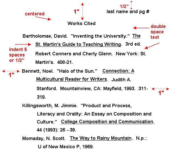 Mla Quote Citation: Work Cited Page Format