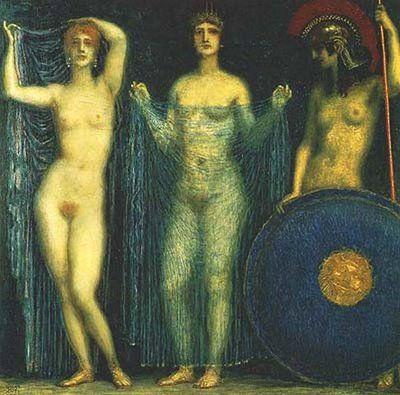 As três deusas Atena, Hera e Afrodite, de Franz von Stuck