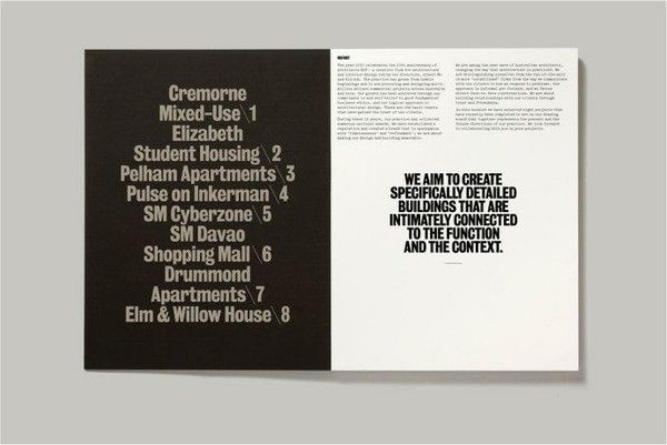 These two pages with a good layout, i think. Actually i like it. The left one with black background and the type in the middle. The right page has two parts. The top part with two-column to express. In the middle page type some important information, i think, because it uses black and bold typeface to represent and uses middle type. this part looks emphasize.