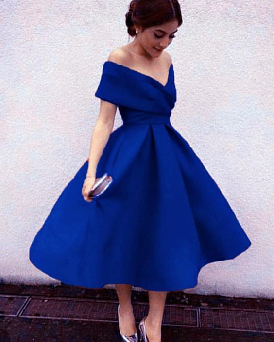 9b65bf7d4f Royal Blue Off Shoulder Tea Length Bridesmaid Dresses, Charming Party  Dresses, Lovely Wedding Party Dresses