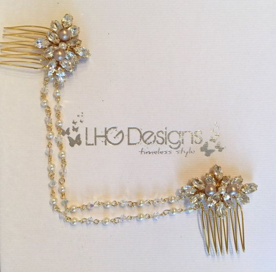Bridal double comb gold boho wedding hair by LHGDesigns on Etsy