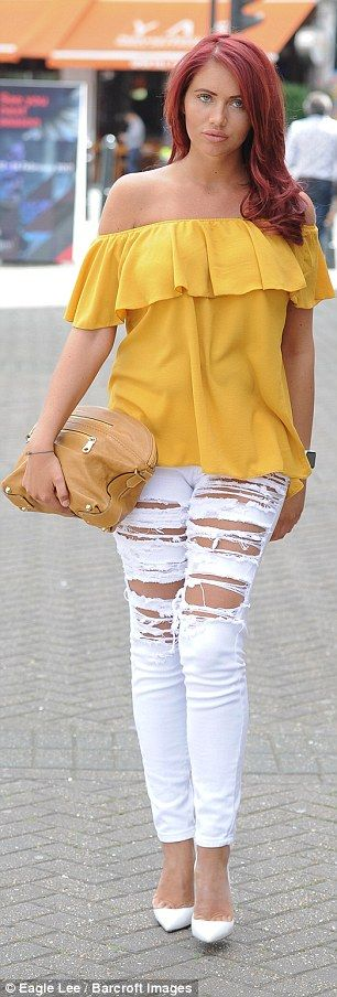 Little Miss Sunshine: The former TOWIE star, 26, looked stylish as she soaked up the summer weather in the capital in a bright mustard frill-detail bardot top while leaving a fashion event in Kensington Olympia