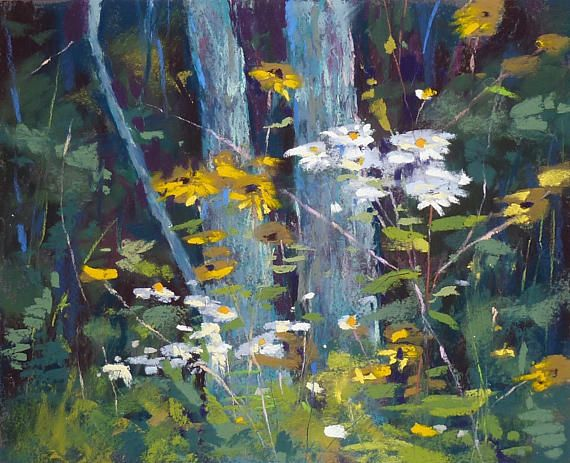 Flores silvestres de bosque arboles paisaje Original Pastel