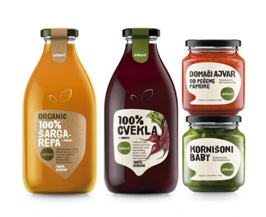 """Redesign of 100% natural juices and other organic/bio products from the Serbian company ZdravoOrganic, which manufactures healthy organic food products, included creating the new label and the new shape of glass containers. The very name of the product, ""Zdravo"", has ambiguous meaning in Serbian language – it means both hello and healthy, which in a way introduces the redesign and communicates the health platform of their organic / natural / healthy food products."""