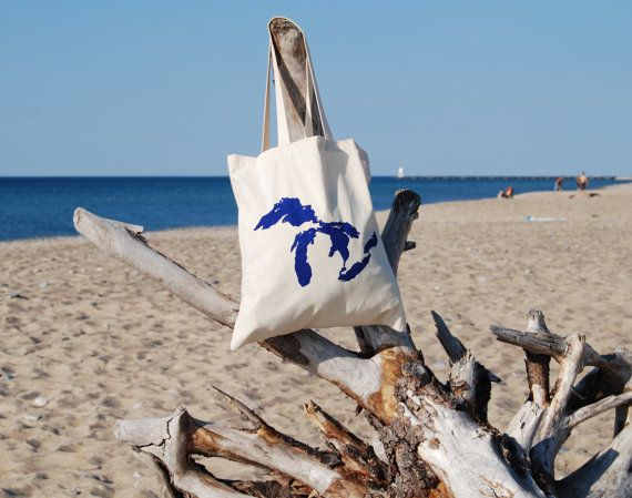 Great Lakes Tote Bag by bigwaterapparel on Etsy, $17.00