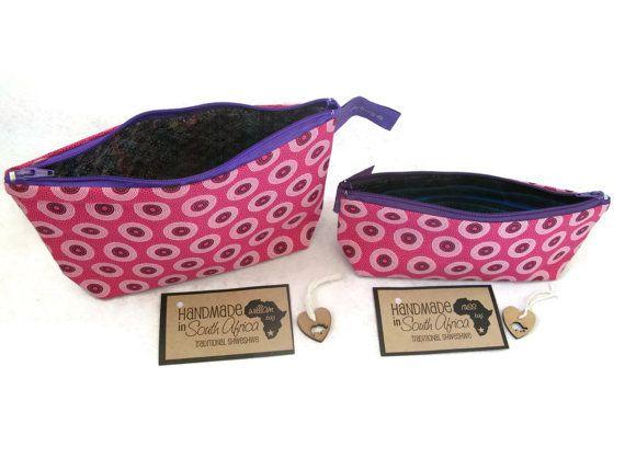 Pink Shweshwe Make Up Purse Pink Makeup bag Wash by SimplyShweshwe